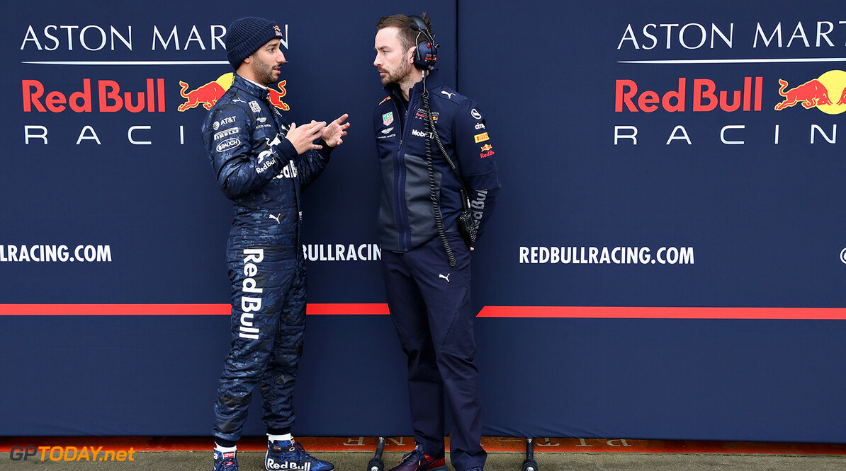 NORTHAMPTON, ENGLAND - FEBRUARY 19:  Daniel Ricciardo of Australia and Aston Martin Red Bull Racing talks with race engineer Simon Rennie outside the garage during the Aston Martin Red Bull Racing RB14 Special Edition filming day at Silverstone Circuit on February 19, 2018 in Northampton, England.  (Photo by Mark Thompson/Getty Images) // Getty Images / Red Bull Content Pool  // AP-1UTMZ3PU11W11 // Usage for editorial use only // Please go to www.redbullcontentpool.com for further information. //  Aston Martin Red Bull Racing RB14 Special Edition livery Mark Thompson Silverstone United Kingdom  AP-1UTMZ3PU11W11