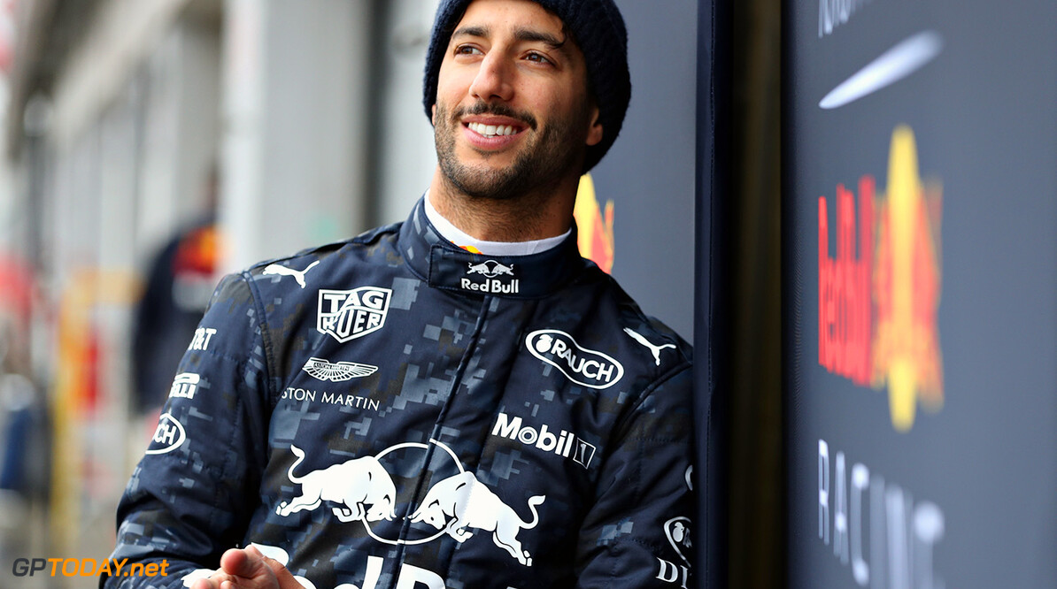NORTHAMPTON, ENGLAND - FEBRUARY 19:  Daniel Ricciardo of Australia and Aston Martin Red Bull Racing looks on outside during the Aston Martin Red Bull Racing RB14 Special Edition filming day at Silverstone Circuit on February 19, 2018 in Northampton, England.  (Photo by Mark Thompson/Getty Images) // Getty Images / Red Bull Content Pool  // AP-1UTMZK62N2111 // Usage for editorial use only // Please go to www.redbullcontentpool.com for further information. //  Aston Martin Red Bull Racing RB14 Special Edition livery Mark Thompson Silverstone United Kingdom  AP-1UTMZK62N2111