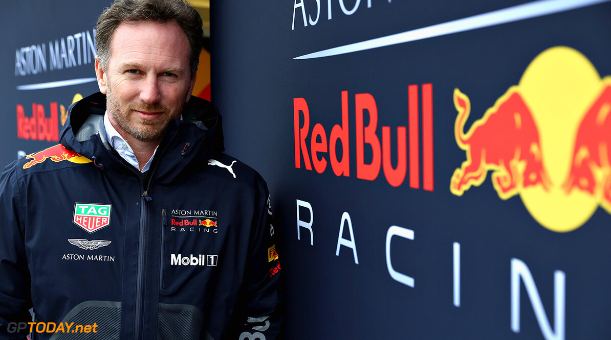 NORTHAMPTON, ENGLAND - FEBRUARY 19: Aston Marting Red Bull Racing Team Principal Christian Horner poses for a photo during the Aston Martin Red Bull Racing RB14 Special Edition filming day at Silverstone Circuit on February 19, 2018 in Northampton, England.  (Photo by Mark Thompson/Getty Images) // Getty Images / Red Bull Content Pool  // AP-1UTQEC9GD2111 // Usage for editorial use only // Please go to www.redbullcontentpool.com for further information. //  Aston Martin Red Bull Racing RB14 Special Edition livery Mark Thompson Silverstone United Kingdom  AP-1UTQEC9GD2111