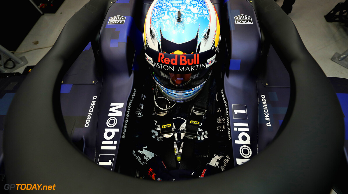 NORTHAMPTON, ENGLAND - FEBRUARY 19:  Daniel Ricciardo of Australia prepares to drive the (3) Aston Martin Red Bull Racing Red Bull RB14 TAG Heuer during the Aston Martin Red Bull Racing RB14 Special Edition filming day at Silverstone Circuit on February 19, 2018 in Northampton, England.  (Photo by Mark Thompson/Getty Images) // Getty Images / Red Bull Content Pool  // AP-1UTQEDFB52111 // Usage for editorial use only // Please go to www.redbullcontentpool.com for further information. //  Aston Martin Red Bull Racing RB14 Special Edition livery Mark Thompson Silverstone United Kingdom  AP-1UTQEDFB52111