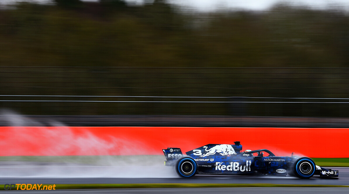 NORTHAMPTON, ENGLAND - FEBRUARY 19:  Daniel Ricciardo of Australia driving the (3) Aston Martin Red Bull Racing Red Bull RB14 TAG Heuer during the Aston Martin Red Bull Racing RB14 Special Edition filming day at Silverstone Circuit on February 19, 2018 in Northampton, England.  (Photo by Patrik Lundin/Getty Images) // Getty Images / Red Bull Content Pool  // AP-1UTQDW8Q91W11 // Usage for editorial use only // Please go to www.redbullcontentpool.com for further information. //  Aston Martin Red Bull Racing RB14 Special Edition livery Patrik Lundin Silverstone United Kingdom  AP-1UTQDW8Q91W11