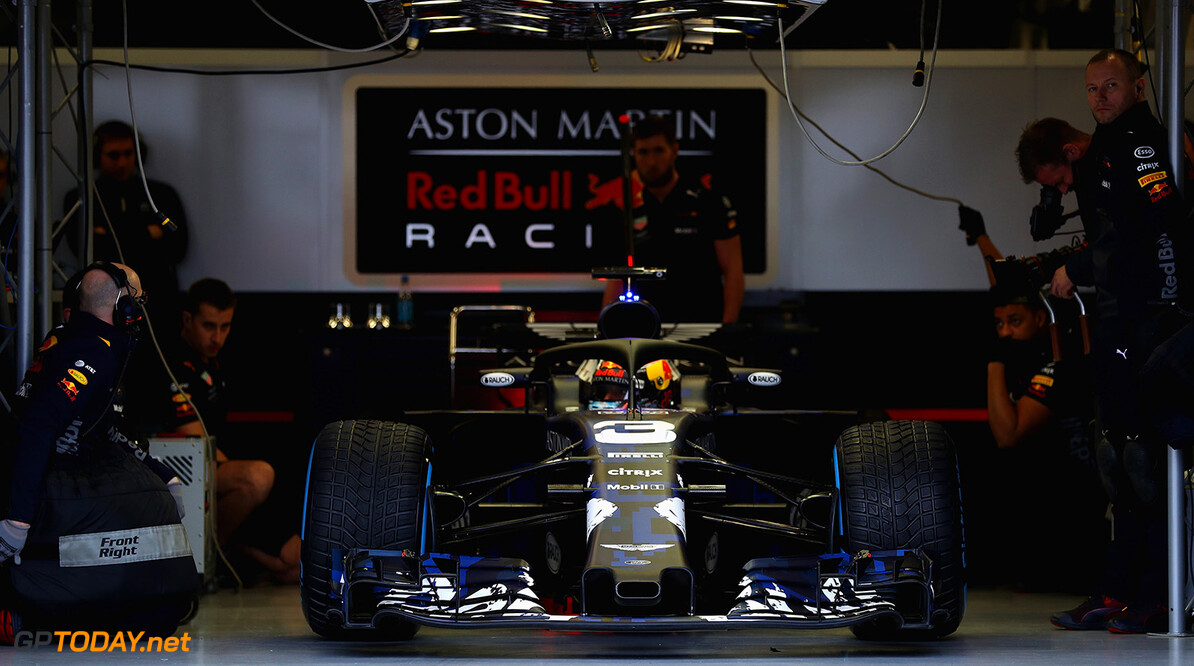 NORTHAMPTON, ENGLAND - FEBRUARY 19:  Daniel Ricciardo of Australia prepares to drive the (3) Aston Martin Red Bull Racing Red Bull RB14 TAG Heuer during the Aston Martin Red Bull Racing RB14 Special Edition filming day at Silverstone Circuit on February 19, 2018 in Northampton, England.  (Photo by Mark Thompson/Getty Images) // Getty Images / Red Bull Content Pool  // AP-1UTQEBS352111 // Usage for editorial use only // Please go to www.redbullcontentpool.com for further information. //  Aston Martin Red Bull Racing RB14 Special Edition livery Mark Thompson Silverstone United Kingdom  AP-1UTQEBS352111