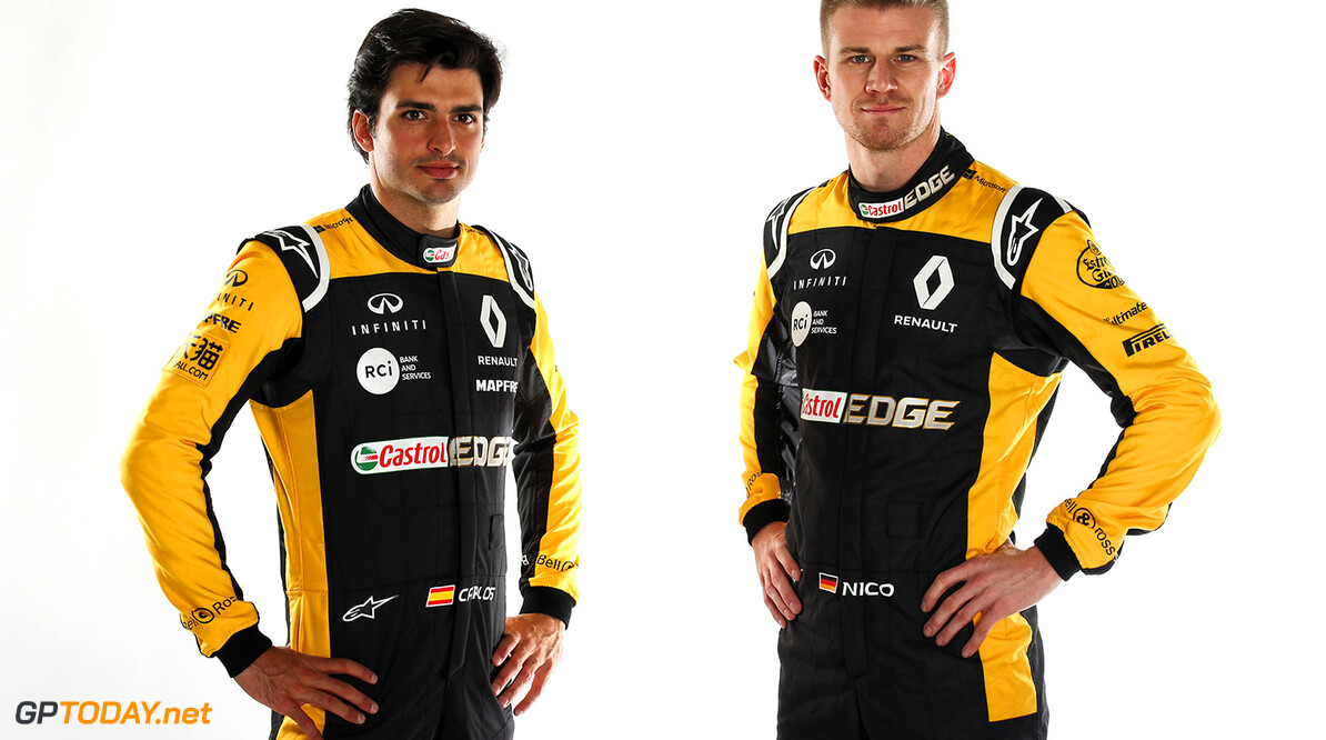 Formula One World Championship (L to R): Carlos Sainz Jr (ESP) Renault Sport F1 Team with Nico Hulkenberg (GER) Renault Sport F1 Team. Renault Sport Formula One Team RS18 Launch, Enstone, England. Tuesday 20th February 2018. Motor Racing - Formula One Launch - Renault Sport Formula One Team R.S.18 Launch - London, England XPB / James Moy Photography Ltd. Enstone England  Formula One Formula 1 F1 Launch Unveil Reveal England Great Britain UK GB United Kingdom JM798 Studio Portraits HQ Headquarters Hulkenberg H?lkenberg Huelkenberg Jnr Junior Jnr. Jr. Portrait