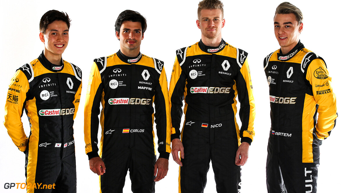 Formula One World Championship (L to R): Jack Aitken (GBR) / (KOR) Renault Sport F1 Team RS18 Test and Reserve Driver; Carlos Sainz Jr (ESP) Renault Sport F1 Team; Nico Hulkenberg (GER) Renault Sport F1 Team; Artem Markelov (RUS) Renault Sport F1 Team Test and Development Driver. Renault Sport Formula One Team RS18 Launch, Enstone, England. Tuesday 20th February 2018. Motor Racing - Formula One Launch - Renault Sport Formula One Team R.S.18 Launch - London, England XPB / James Moy Photography Ltd. Enstone England  Formula One Formula 1 F1 Launch Unveil Reveal England Great Britain UK GB United Kingdom JM798 Studio Portraits HQ Headquarters Hulkenberg H?lkenberg Huelkenberg Jnr Junior Jnr. Jr. Portrait