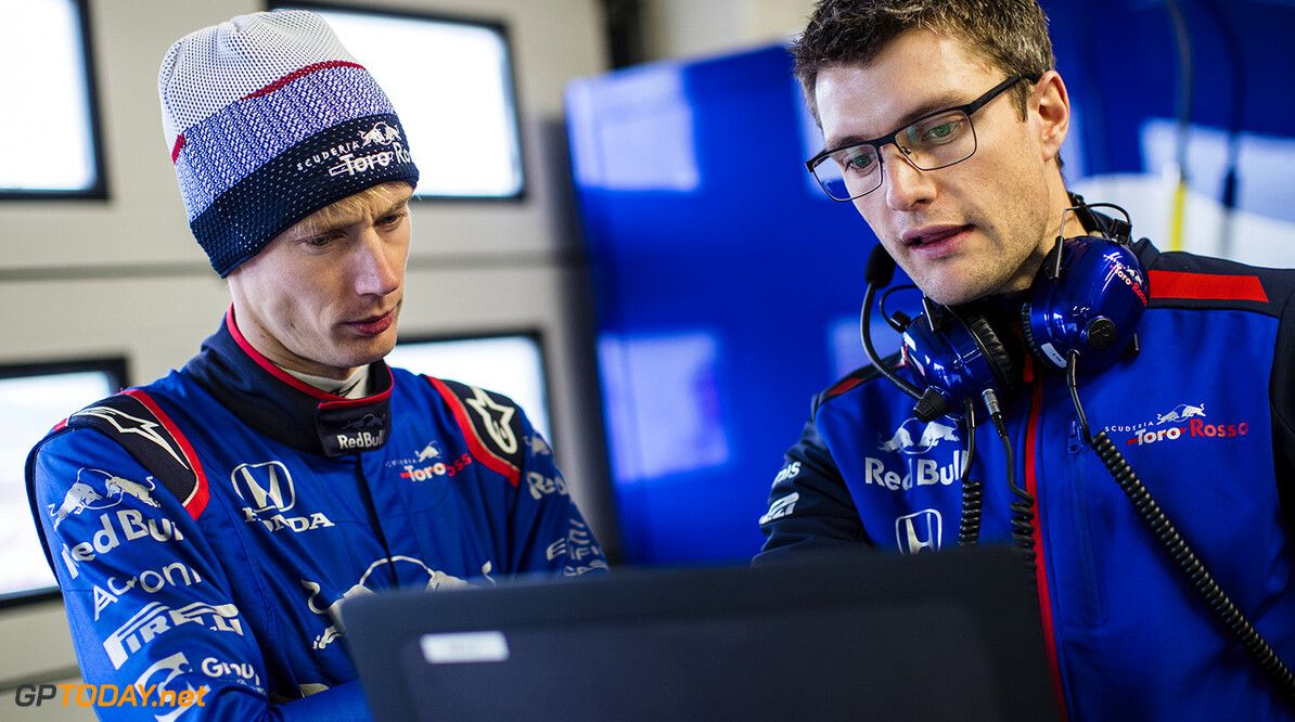 Brandon Hartley of New Zealand and Scuderia Toro Rosso talks to his race engineer Pierre Hamelin during the filming day in MIsano, Italy on February 21, 2017 // Samo Vidic/Red Bull Content Pool // AP-1UVM739511W11 // Usage for editorial use only // Please go to www.redbullcontentpool.com for further information. //  Brandon Hartley,  Pierre Hamelin  Misano Adriatico Italy  AP-1UVM739511W11