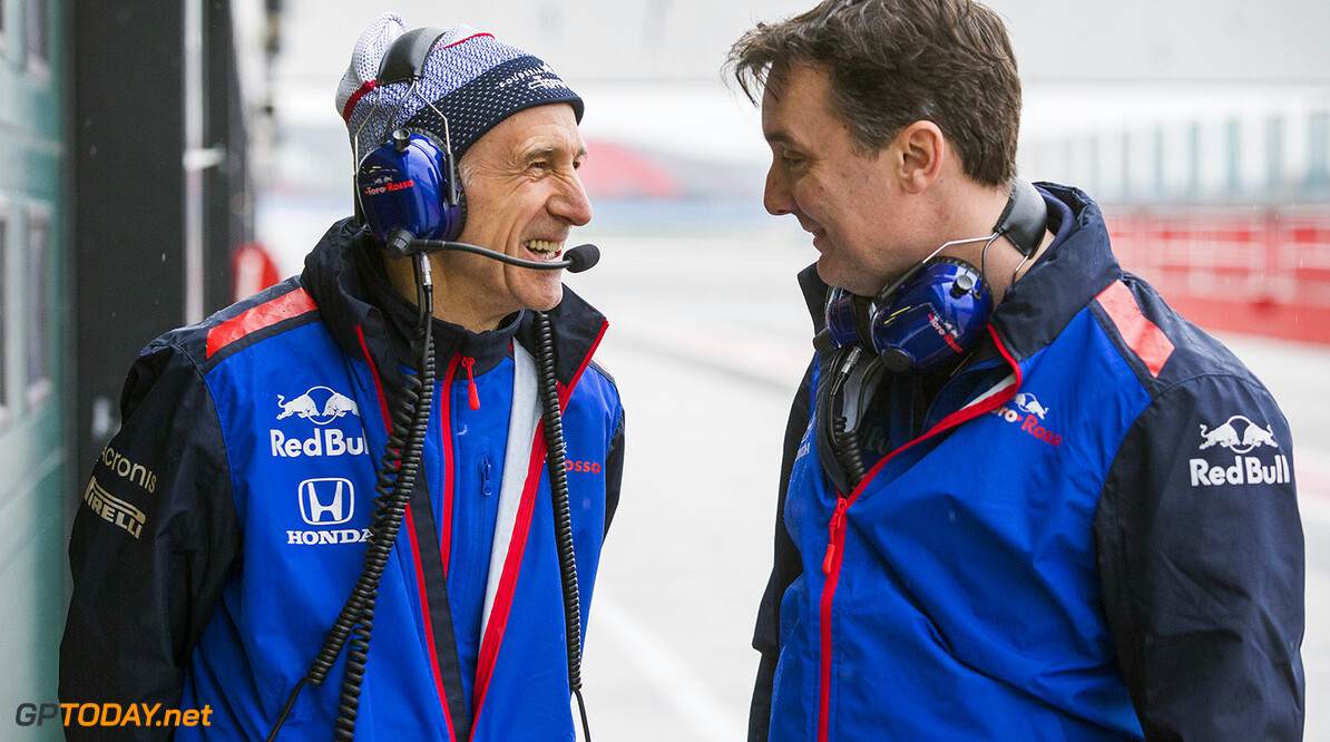 (L to R) Team principal Franz Tost and technical director James Key of the Scuderia Toro Rosso talk during the filming day in Misano, Italy on February 21, 2017 // Samo Vidic/Red Bull Content Pool // AP-1UVM75HP51W11 // Usage for editorial use only // Please go to www.redbullcontentpool.com for further information. //  Franz Tost, James Key  Misano Adriatico Italy  AP-1UVM75HP51W11