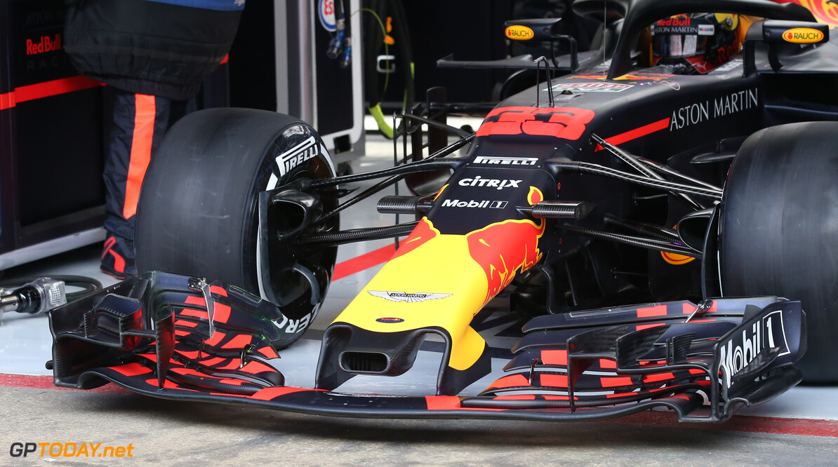 Formula One Testing Red Bull Front wing. 08.03.2018. Formula One Testing, Day Three, Barcelona, Spain. Thursday. - www.xpbimages.com, EMail: requests@xpbimages.com - copy of publication required for printed pictures. Every used picture is fee-liable. (C) Copyright: Batchelor / XPB Images Motor Racing - Formula One Testing - Test Two - Day 3 -  Barcelona, Spain xpb.cc Barcelona Spain  Formel1 Formel Testing Test F1 Formula 1 Formula1 one February Spain Barcelona Catalunya 08 8 01 1 2018 Thursday Action Track technical