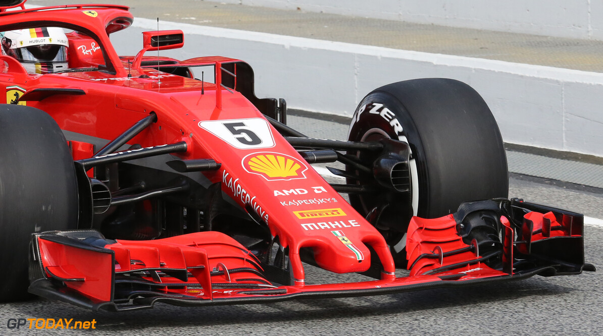 Formula One Testing Ferrari Front wing. 08.03.2018. Formula One Testing, Day Three, Barcelona, Spain. Thursday. - www.xpbimages.com, EMail: requests@xpbimages.com - copy of publication required for printed pictures. Every used picture is fee-liable. (C) Copyright: Batchelor / XPB Images Motor Racing - Formula One Testing - Test Two - Day 3 -  Barcelona, Spain xpb.cc Barcelona Spain  Formel1 Formel Testing Test F1 Formula 1 Formula1 one February Spain Barcelona Catalunya 08 8 01 1 2018 Thursday Action Track technical