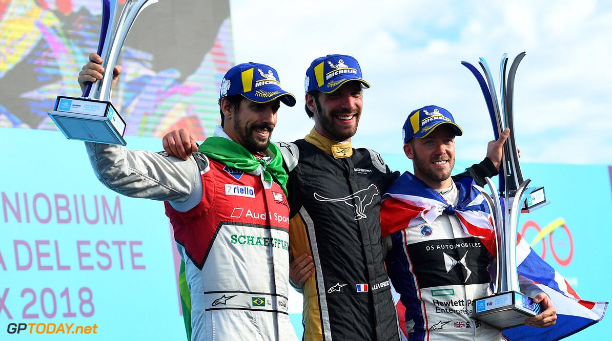 Jean-Eric Vergne (FRA), TECHEETAH, Renault Z.E. 17, celebrates with Lucas Di Grassi (BRA), Audi Sport ABT Schaeffler, Audi e-tron FE04, and Sam Bird (GBR), DS Virgin Racing, DS Virgin DSV-03, on the podium.  Sam Bagnall    podium portrait