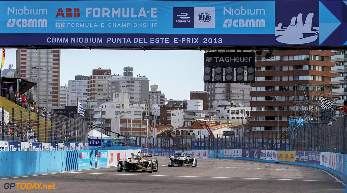 Jean-Eric Vergne (FRA), TECHEETAH, Renault Z.E. 17, crosses the line and takes the chequered flag to win the race from Lucas Di Grassi (BRA), Audi Sport ABT Schaeffler, Audi e-tron FE04.  Zak Mauger    action