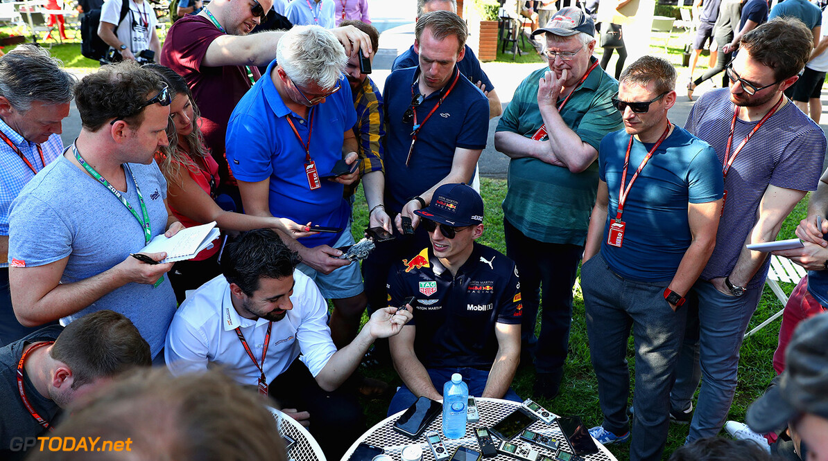 MELBOURNE, AUSTRALIA - MARCH 22:  Max Verstappen of Netherlands and Red Bull Racing talks to the media in the Paddock during previews ahead of the Australian Formula One Grand Prix at Albert Park on March 22, 2018 in Melbourne, Australia.  (Photo by Mark Thompson/Getty Images) // Getty Images / Red Bull Content Pool  // AP-1V4HET9QN1W11 // Usage for editorial use only // Please go to www.redbullcontentpool.com for further information. //  Australian F1 Grand Prix - Previews Mark Thompson Melbourne Australia  AP-1V4HET9QN1W11