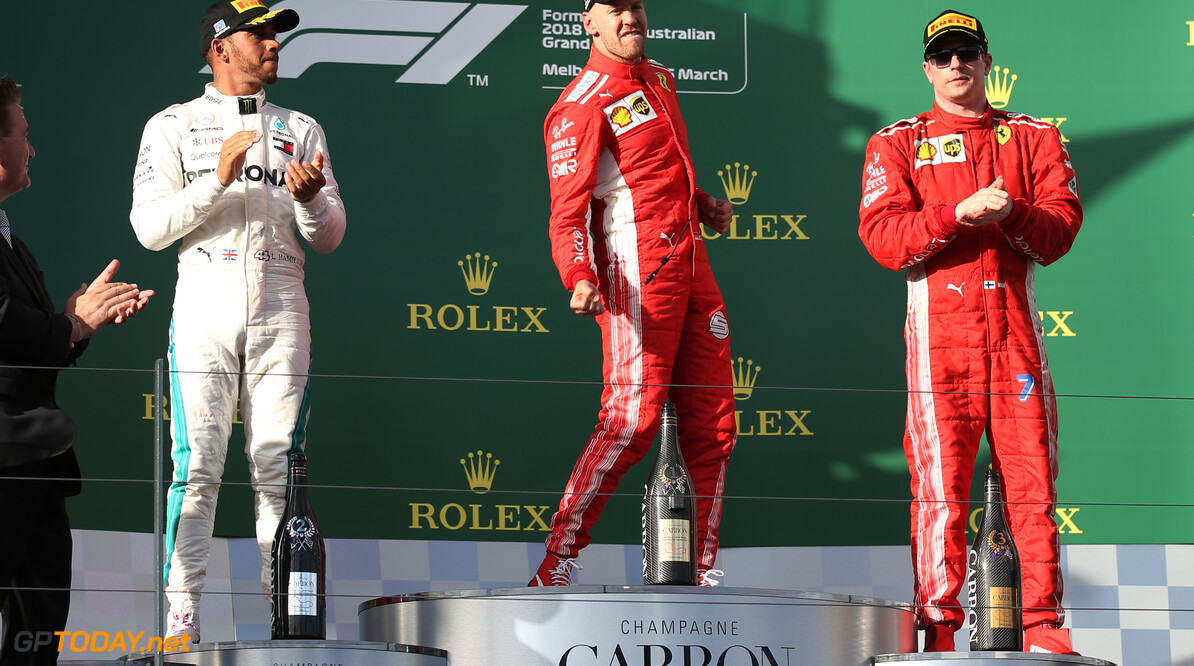 Formula One World Championship 1st place Sebastian Vettel (GER) Ferrari SF71H with 2nd place Lewis Hamilton (GBR) Mercedes AMG F1 W09 and 3rd place Kimi Raikkonen (FIN) Ferrari SF71H. 25.03.2018. Formula 1 World Championship, Rd 1, Australian Grand Prix, Albert Park, Melbourne, Australia, Race Day. - www.xpbimages.com, EMail: requests@xpbimages.com - copy of publication required for printed pictures. Every used picture is fee-liable. (C) Copyright: Batchelor / XPB Images Motor Racing - Formula One World Championship - Australian Grand Prix - Race Day - Melbourne, Australia xpb.cc Melbourne Australia  Formel1 Formel F1 Formula 1 Formula1 GP Grand Prix one March Australian Australia Albert Park Melbourne Oz Sunday 25 03 3 2018 Podium Portrait