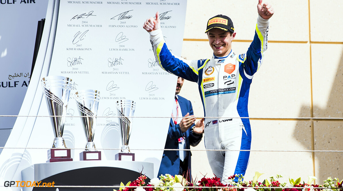 FIA Formula 2 Series - Round 1 Bahrain International Circuit, Sakhir, Bahrain Saturday 7 April 2018. Lando Norris (GBR, Carlin).  World Copyright: Zak Mauger/LAT Images ref: Digital Image   Zak Mauger    f2 race one 1 feature portrait podium