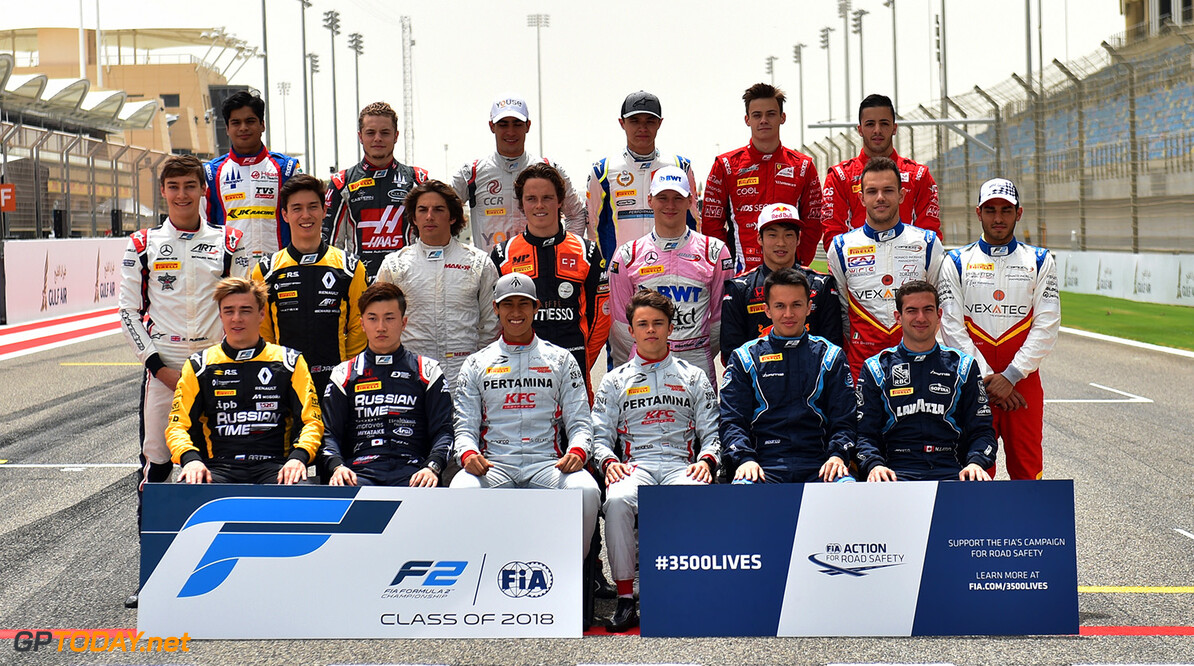 FIA Formula 2 Series - Round 1 Bahrain International Circuit, Sakhir, Bahrain Thursday 5 April 2018. Formula 2 drivers group photo World Copyright: /LAT Images ref: Digital Image      F2