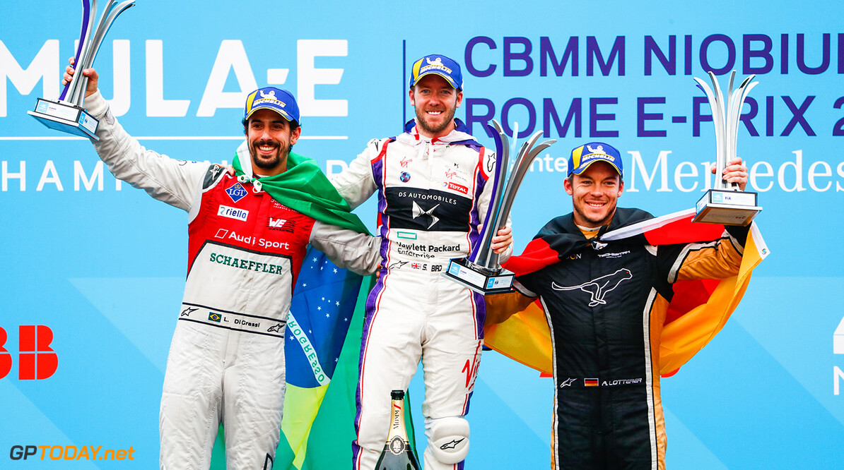 Sam Bird (GBR), DS Virgin Racing, DS Virgin DSV-03, ,wins the Rome ePrix, with Lucas Di Grassi (BRA), Audi Sport ABT Schaeffler, Audi e-tron FE04, in 2nd and Andre Lotterer (BEL), TECHEETAH, Renault Z.E. 17, in 3rd. World Copyright: Malcom Griffiths /FIA Formula E Ref: _W6I6450 World Copyright: Sam Bloxham/FIA Formula E Ref: _W6I6450  Sam Bloxham