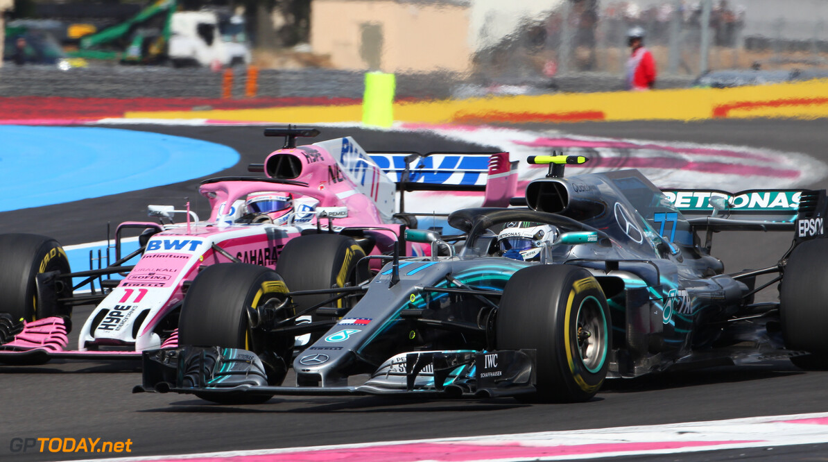 Formula One World Championship Valtteri Bottas (FIN) Mercedes AMG F1 and Sergio Perez (MEX) Sahara Force India F1 VJM11. 24.06.2018. Formula 1 World Championship, Rd 8, French Grand Prix, Paul Ricard, France, Race Day. - www.xpbimages.com, EMail: requests@xpbimages.com - copy of publication required for printed pictures. Every used picture is fee-liable. (C) Copyright: Photo4 / XPB Images Motor Racing - Formula One World Championship - French Grand Prix - Race Day - Paul Ricard, France xpb.cc Le Castellet France  Formel1 Formel F1 Formula 1 Formula1 GP Grand Prix one Sunday June 24 06 6 2018 France French Circuit Paul Ricard Le Castellet Race Action Track
