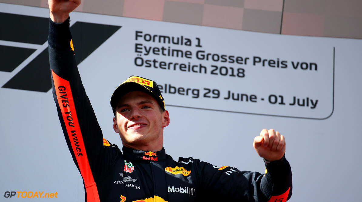Formula One World Championship 1st place Max Verstappen (NLD) Red Bull Racing RB14. 01.07.2018. Formula 1 World Championship, Rd 9, Austrian Grand Prix, Spielberg, Austria, Race Day. - www.xpbimages.com, EMail: requests@xpbimages.com - copy of publication required for printed pictures. Every used picture is fee-liable. (C) Copyright: Batchelor / XPB Images Motor Racing - Formula One World Championship - Austrian Grand Prix - Race Day - Spielberg, Austria xpb.cc Spielberg Austria  Formel1 Formel F1 Formula 1 Formula1 GP Grand Prix one Circuit Austria Austrian Spielberg Zeltweg Sunday July 01 1  07 7 2018 Podium Portrait