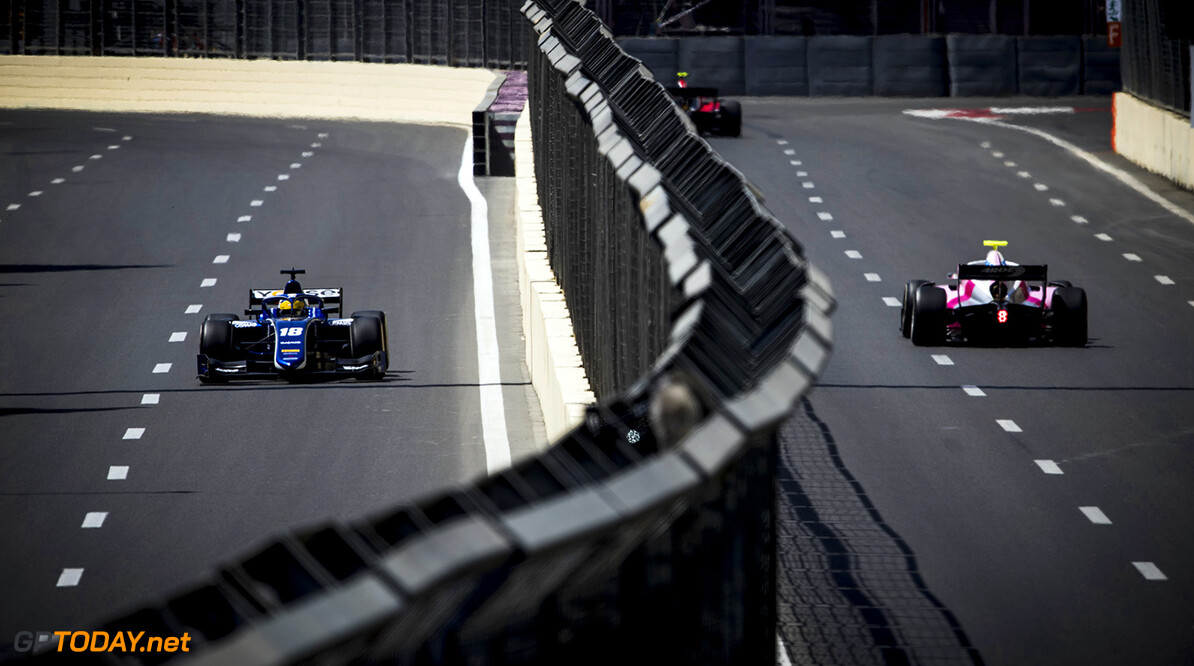 FIA Formula 2 Series - Round 2 Baku City Circuit, Baku, Azerbaijan Friday 27 April 2018 Sergio Sette Camara (BRA, Carlin).  World Copyright: Zak Mauger/LAT Images ref: Digital Image   Zak Mauger    f2 practice action