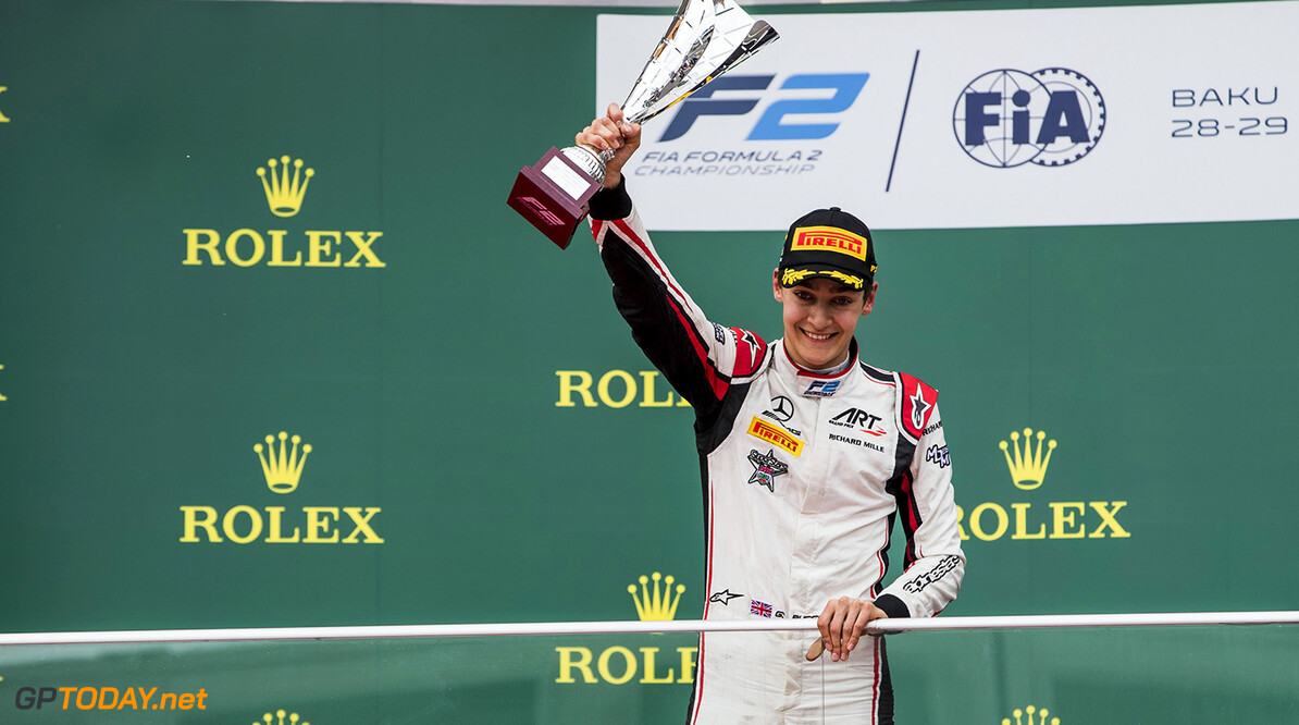 FIA Formula 2 Series - Round 2 Baku City Circuit, Baku, Azerbaijan Sunday 29 April 2018 George Russell (GBR, ART Grand Prix).  World Copyright: Zak Mauger/LAT Images ref: Digital Image   Zak Mauger    f2 race two 2 sprint portrait podium