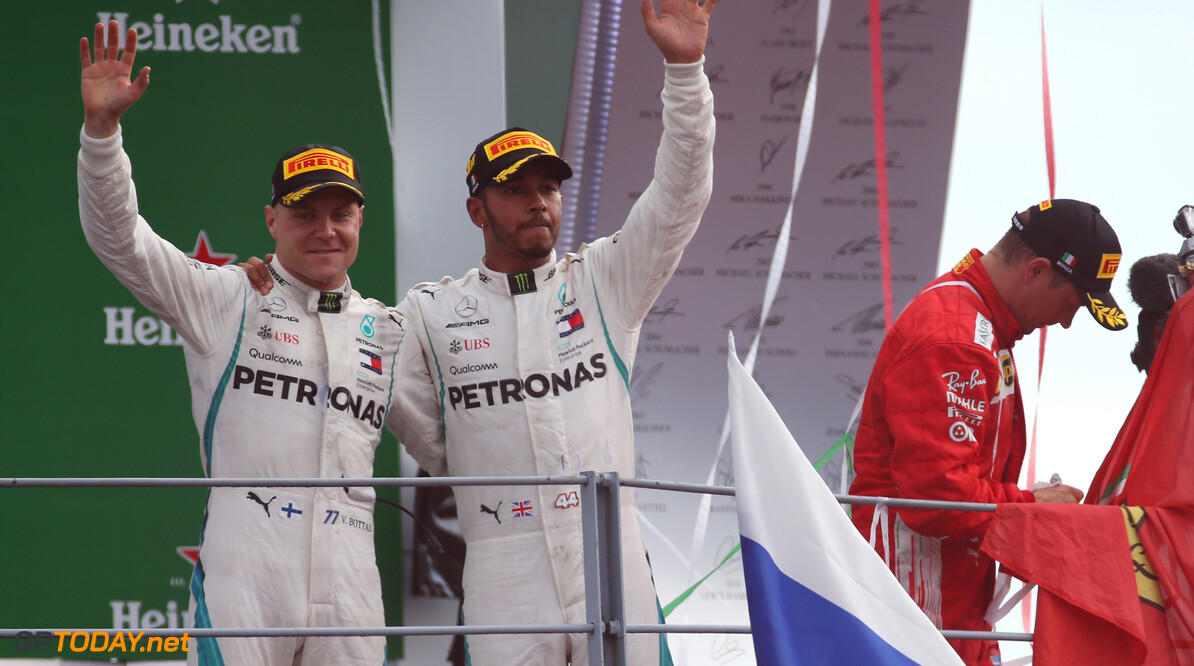 Formula One World Championship 1st place Lewis Hamilton (GBR) Mercedes AMG F1 W09, 2nd Kimi Raikkonen (FIN) Ferrari SF71H and 3rd place Valtteri Bottas (FIN) Mercedes AMG F1. 02.09.2018. Formula 1 World Championship, Rd 14, Italian Grand Prix, Monza, Italy, Race Day. - www.xpbimages.com, EMail: requests@xpbimages.com - copy of publication required for printed pictures. Every used picture is fee-liable. (C) Copyright: Batchelor / XPB Images Motor Racing - Formula One World Championship - Italian Grand Prix - Race Day - Monza, Italy xpb.cc Monza Italy  Formel1 Formel F1 Formula 1 Formula1 GP Grand Prix one Autodromo di Monza September Sunday 02 2 09 9 2018 Podium Portrait
