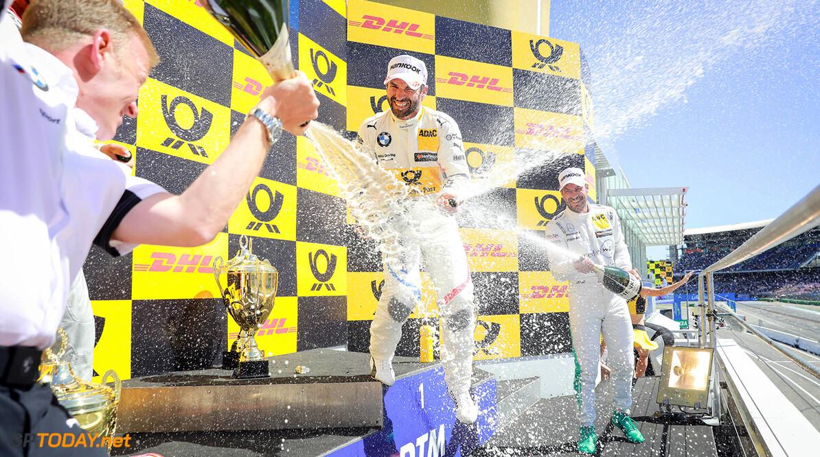 Motorsports: DTM race Hockenheimring, Saison 2018 - 1. Event Hockenheimring, GER Motorsports: DTM race Hockenheimring Gruppe C / Hoch Zwei   Germany  Fahrer Podium Sektspritzen Siegerehrung VersandPartnerDTM VersandPartnerStandard