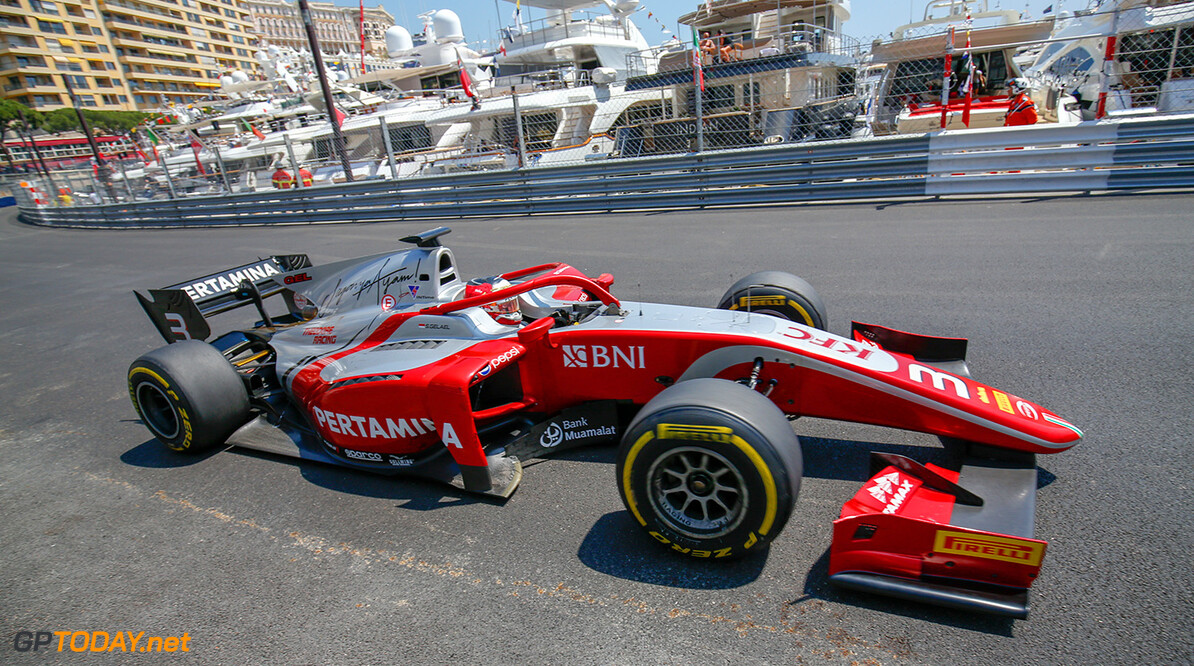 FIA Formula 2 Series - Round 4.  Monte Carlo, Monaco.  Friday 25 May 2018.  Sean Gelael (IDN, PERTAMINA PREMA Theodore Racing).  World Copyright: Joe Portlock / FIA Formula 2.  ref: Digital Image   Joe Portlock    f2 Race 1 Race Action