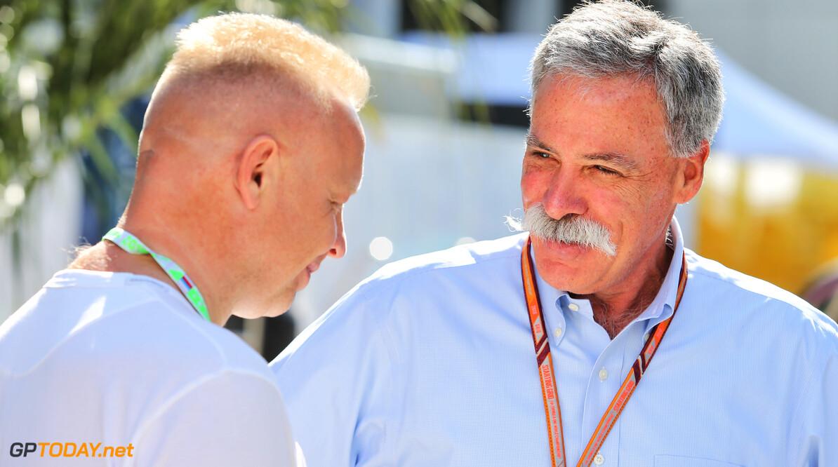 Dmitry Mazepin (BLR) Uralchem Chairman with Chase Carey (USA) Formula One Group Chairman. 29.09.2018. Formula 1 World Championship, Rd 16, Russian Grand Prix, Sochi Autodrom, Sochi, Russia,