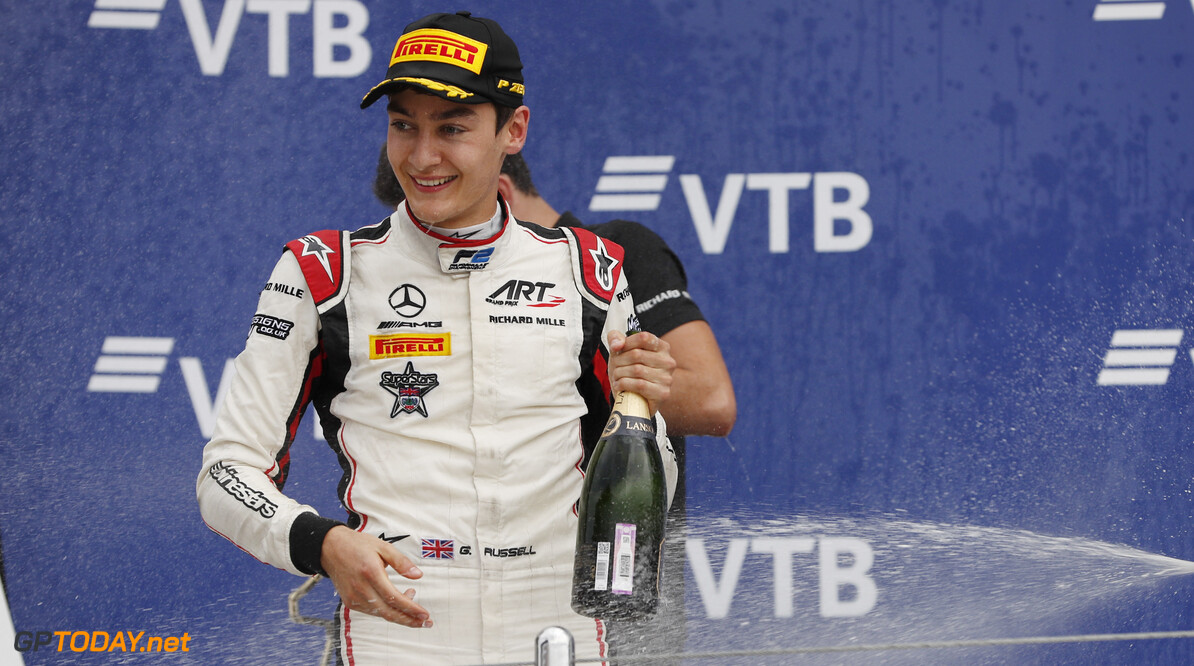 FIA Formula 2 Series - Round 11. Sochi Autodrom, Sochi, Russia. Sunday 30 September 2018. George Russell (GBR, ART Grand Prix).  Photo: Zak Mauger / FIA Formula 2. ref: Digital Image   Zak Mauger    f2 race two 2 sprint portrait podium