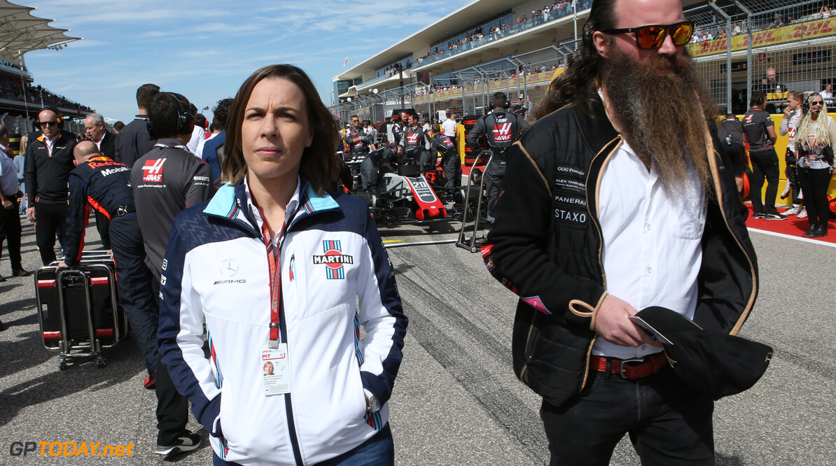 Formula One World Championship Claire Williams (GBR) Williams Deputy Team Principal.  and William Storey of Rich Energy drinks. 21.10.2018. Formula 1 World Championship, Rd 18, United States Grand Prix, Austin, Texas, USA, Race Day. - www.xpbimages.com, EMail: requests@xpbimages.com - copy of publication required for printed pictures. Every used picture is fee-liable. (C) Copyright: Batchelor / XPB Images Motor Racing - Formula One World Championship - United States Grand Prix - Race Day - Austin, USA XPB Images Austin USA  Formel1 Formel F1 Formula 1 Formula1 GP Grand Prix one Circuit of The Americas November COTA Texas USA United States of America Sunday 21 10 2018 Grid Portrait
