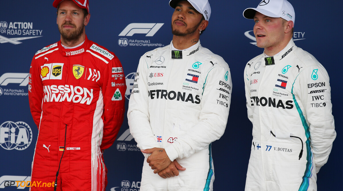 Formula One World Championship Pole for Lewis Hamilton (GBR) Mercedes, 2nd for Sebastian Vettel (GER) Scuderia Ferrari  and 3rd Valtteri Bottas (FIN) Mercedes AMG F1. 10.11.2018. Formula 1 World Championship, Rd 20, Brazilian Grand Prix, Sao Paulo, Brazil, Qualifying Day. - www.xpbimages.com, EMail: requests@xpbimages.com - copy of publication required for printed pictures. Every used picture is fee-liable. (C) Copyright: Batchelor / XPB Images Motor Racing - Formula One World Championship - Brazilian Grand Prix - Qualifying Day - Sao Paulo, Brazil XPB Images Sao Paulo Brazil  Formel1 Formel F1 Formula 1 Formula1 GP Grand Prix one November Brazil Brasil Brazilian Brasilian Sao Paulo Interlagos Autodromo Saturday 10 11 2018 Qualifying Portrait