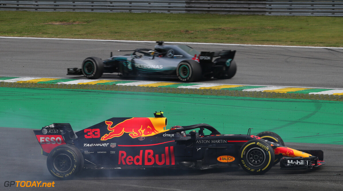 Formula One World Championship Max Verstappen (NLD) Red Bull Racing RB14 and Esteban Ocon (FRA) Racing Point Force India F1 VJM11 collide. 11.11.2018. Formula 1 World Championship, Rd 20, Brazilian Grand Prix, Sao Paulo, Brazil, Race Day. - www.xpbimages.com, EMail: requests@xpbimages.com - copy of publication required for printed pictures. Every used picture is fee-liable. (C) Copyright: Photo4 / XPB Images Motor Racing - Formula One World Championship - Brazilian Grand Prix - Race Day - Sao Paulo, Brazil XPB Images Sao Paulo Brazil  Formel1 Formel F1 Formula 1 Formula1 GP Grand Prix one November Brazil Brasil Brazilian crashBrasilian Sao Paulo Interlagos Autodromo Sunday 11 11 2018 Race Action Track