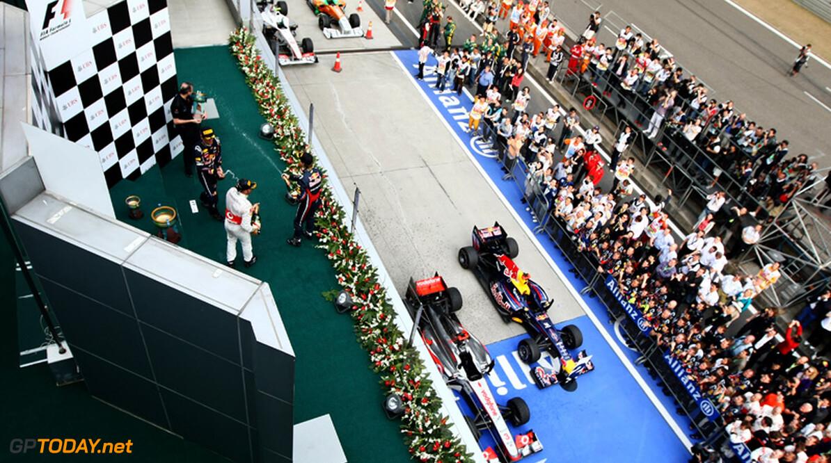 2011 Chinese Grand Prix - Sunday Shanghai International Circuit, Shanghai, China 17th April 2011 Podium, 1st, Lewis Hamilton (GBR), McLaren Mercedes, 2nd, Sebastian Vettel (GER), Red Bull Racing, 3rd, Mark Webber (AUS), Red Bull Racing World Copyright: Andrew Hone / Formula Press / LAT Photographic