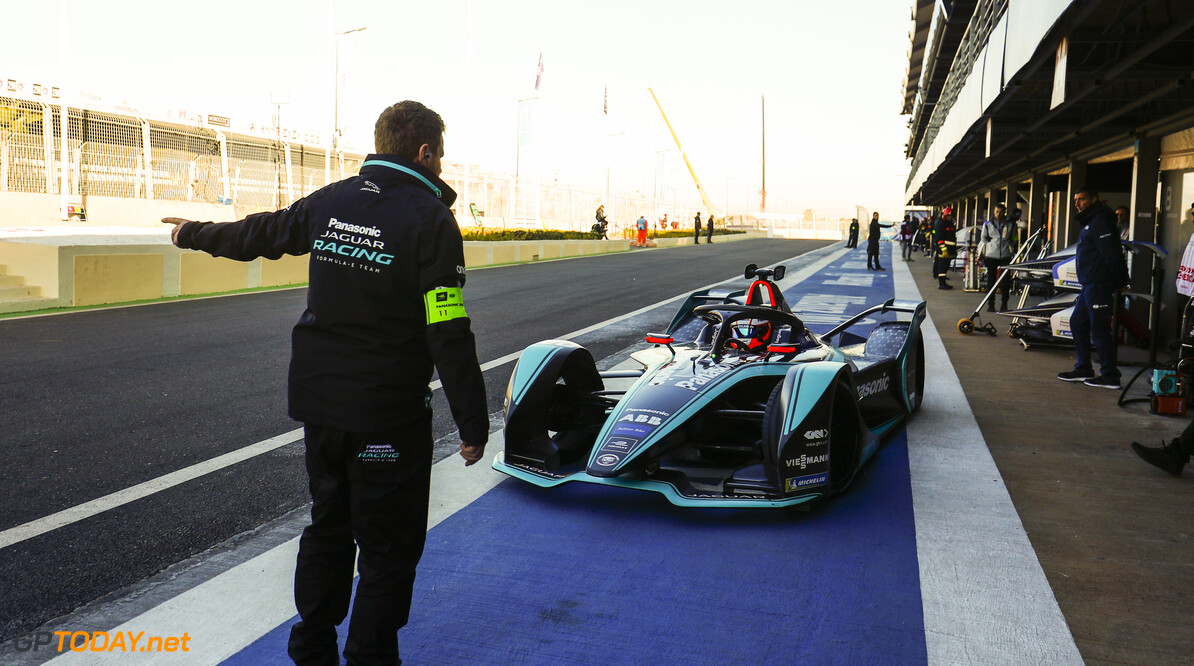 2018 Marrakesh E-prix CIRCUIT INTERNATIONAL AUTOMOBILE MOULAY EL HASSAN, MOROCCO - JANUARY 12: Mitch Evans (NZL), Panasonic Jaguar Racing, Jaguar I-Type 3, in the pit lane during the Marrakesh E-prix at Circuit International Automobile Moulay El Hassan on January 12, 2019 in Circuit International Automobile Moulay El Hassan, Morocco. (Photo by Sam Bloxham / LAT Images) 2018 Marrakesh E-prix Sam Bloxham  Morocco  action electric fe