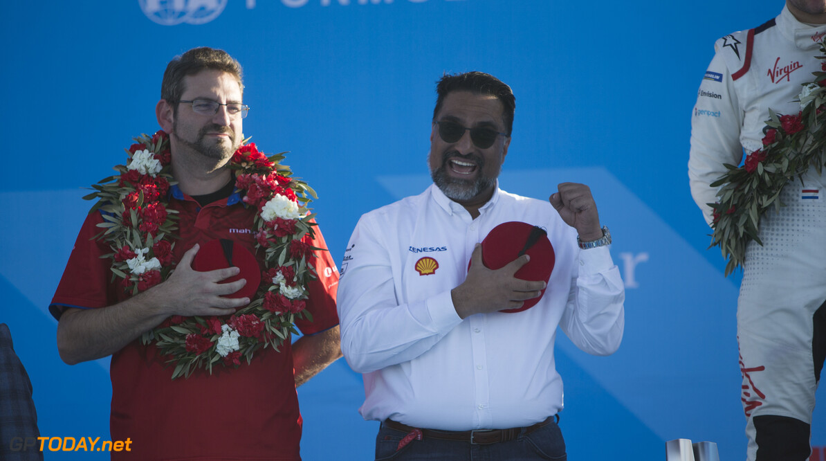 2018 Marrakesh E-prix CIRCUIT INTERNATIONAL AUTOMOBILE MOULAY EL HASSAN, MOROCCO - JANUARY 12: Dilbagh Gill, CEO and Team Principal, Mahindra Racing, on the podium during the Marrakesh E-prix at Circuit International Automobile Moulay El Hassan on January 12, 2019 in Circuit International Automobile Moulay El Hassan, Morocco. (Photo by Andrew Ferraro / LAT Images) 2018 Marrakesh E-prix Andrew Ferraro  Morocco  podium portrait electric fe