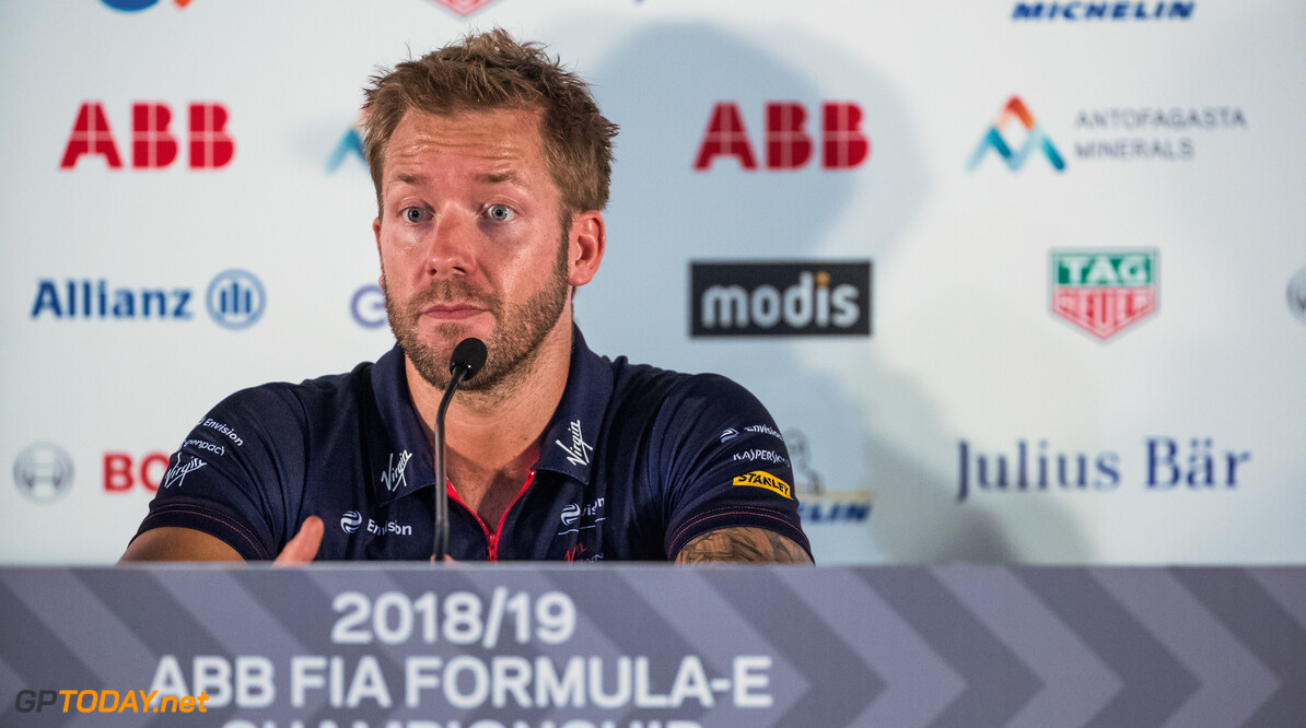 2018 Santiago E-prix PARQUE O'HIGGINS CIRCUIT, CHILE - JANUARY 25: Sam Bird (GBR), Envision Virgin Racing in the press conference during the Santiago E-prix at Parque O'Higgins Circuit on January 25, 2019 in Parque O'Higgins Circuit, Chile. (Photo by Sam Bloxham) 2018 Santiago E-prix Sam Bloxham  Chile  portrait electric fe