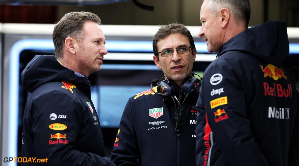 Christian Horner (GBR) Red Bull Racing Team Principal with Paul Monaghan (GBR) Red Bull Racing Chief Engineer (Right). 19.02.2019. Formula One Testing, Day Two, Barcelona, Spain. Tuesday.