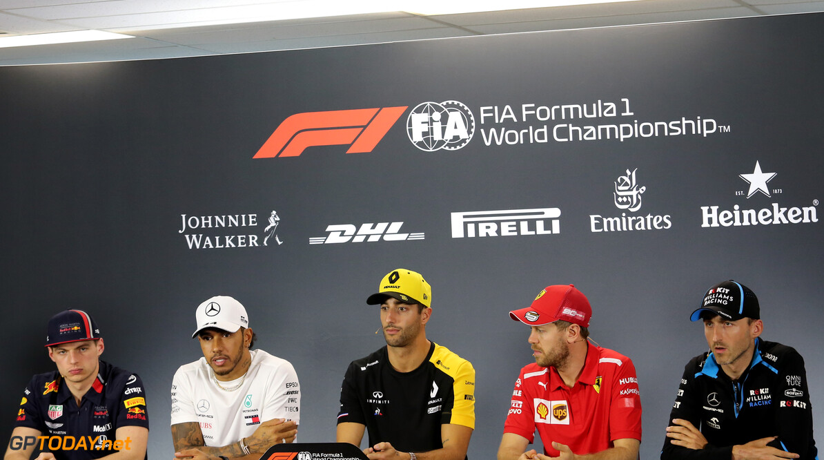 Press conference, Max Verstappen (NLD), Red Bull Racing, Lewis Hamilton (GBR), Mercedes AMG F1 , Daniel Ricciardo (AUS), Renault F1 Team, Sebastian Vettel (GER), Scuderia Ferrari and Robert Kubica (POL), Williams F1 Team  14.03.2019. Formula 1 World Championship, Rd 1, Australian Grand Prix, Albert Park, Melbourne, Australia, Preparation Day. - www.xpbimages.com, EMail: requests@xpbimages.com - copy of publication required for printed pictures. Every used picture is fee-liable. (C) Copyright: Charniaux / XPB Images Motor Racing - Formula One World Championship - Australian Grand Prix - Preparation Day - Thursday - Melbourne, Australia     Formel1 Formel F1 Formula 1 Formula1 GP Grand Prix one Portrait March Australian Australia Albert Park Melbourne Oz Thursday 14 03 3 2019