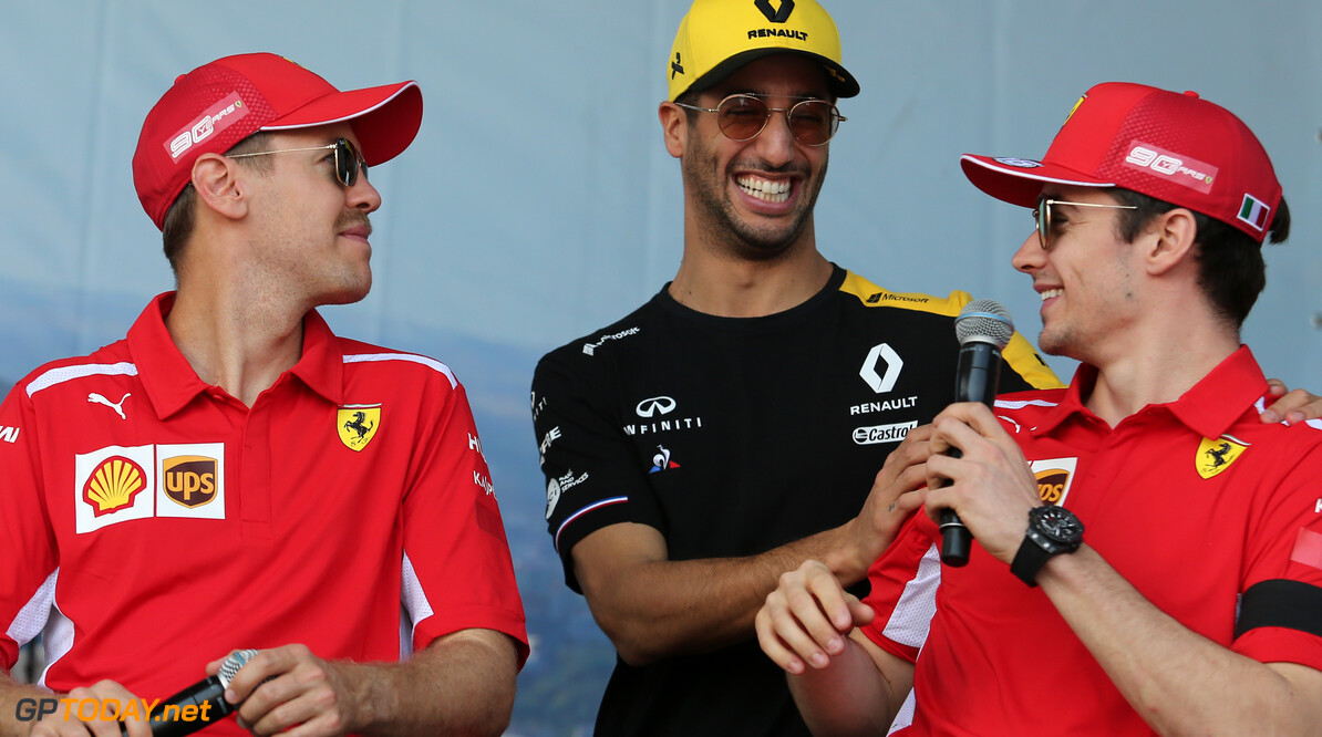 Sebastian Vettel (GER), Scuderia Ferrari, Daniel Ricciardo (AUS), Renault F1 Team and Charles Leclerc (FRA), Scuderia Ferrari  16.03.2019. Formula 1 World Championship, Rd 1, Australian Grand Prix, Albert Park, Melbourne, Australia, Qualifying Day. - www.xpbimages.com, EMail: requests@xpbimages.com - copy of publication required for printed pictures. Every used picture is fee-liable. (C) Copyright: Charniaux / XPB Images Motor Racing - Formula One World Championship - Australian Grand Prix - Qualifying Day - Melbourne, Australia     Formel1 Formel F1 Formula 1 Formula1 GP Grand Prix one March Australian Australia Albert Park Melbourne Oz Saturday 16 03 3 2019 Practice Action Track