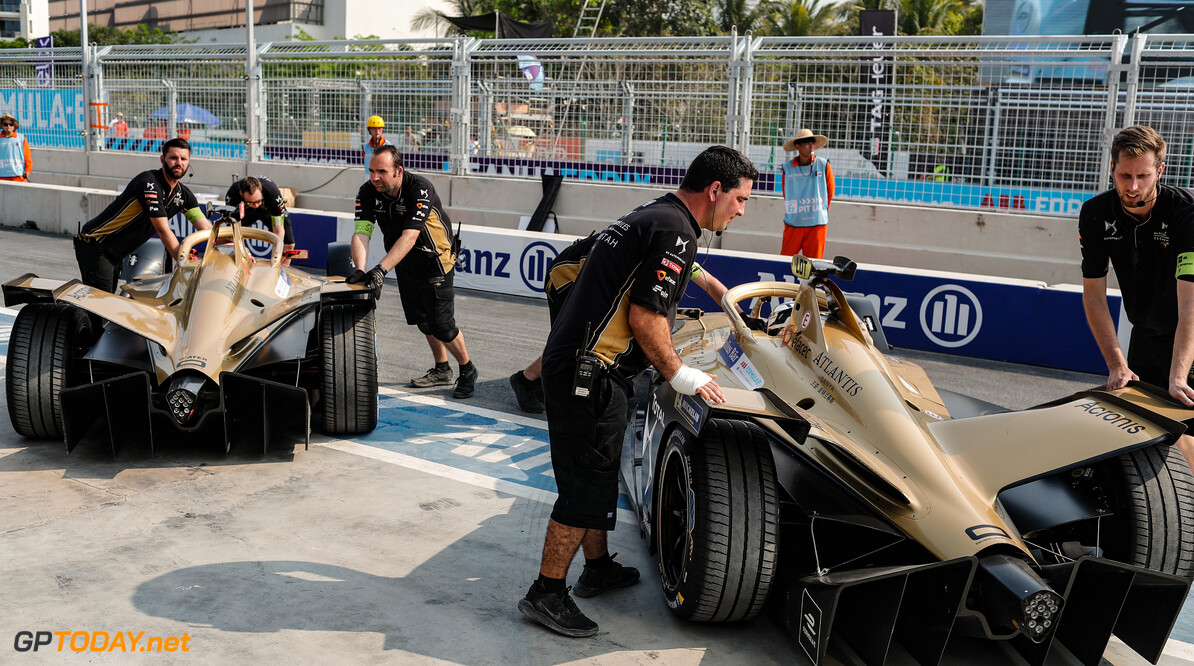 2019 Sanya E-prix SANYA STREET CIRCUIT, CHINA - MARCH 22: Jean-Eric Vergne (FRA), DS TECHEETAH, DS E-Tense FE19, and Andre Lotterer (DEU), DS TECHEETAH, DS E-Tense FE19, are pushed into the garage during the Sanya E-prix at Sanya Street Circuit on March 22, 2019 in Sanya Street Circuit, China. (Photo by Sam Bloxham / LAT Images) 2019 Sanya E-prix Sam Bloxham  China  portrait mechanics pit lane electric FE open wheel