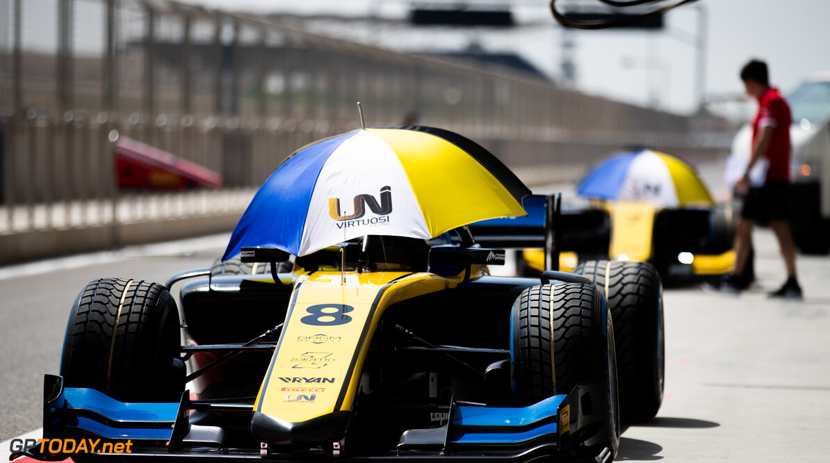 2019 Bahrain BAHRAIN INTERNATIONAL CIRCUIT, BAHRAIN - MARCH 28: Car of Luca Ghiotto (ITA, UNI VIRTUOSI) in the pitlane during the Bahrain at Bahrain International Circuit on March 28, 2019 in Bahrain International Circuit, Bahrain. (Photo by Joe Portlock) 2019 Bahrain Joe Portlock  Bahrain  Portrait Preview