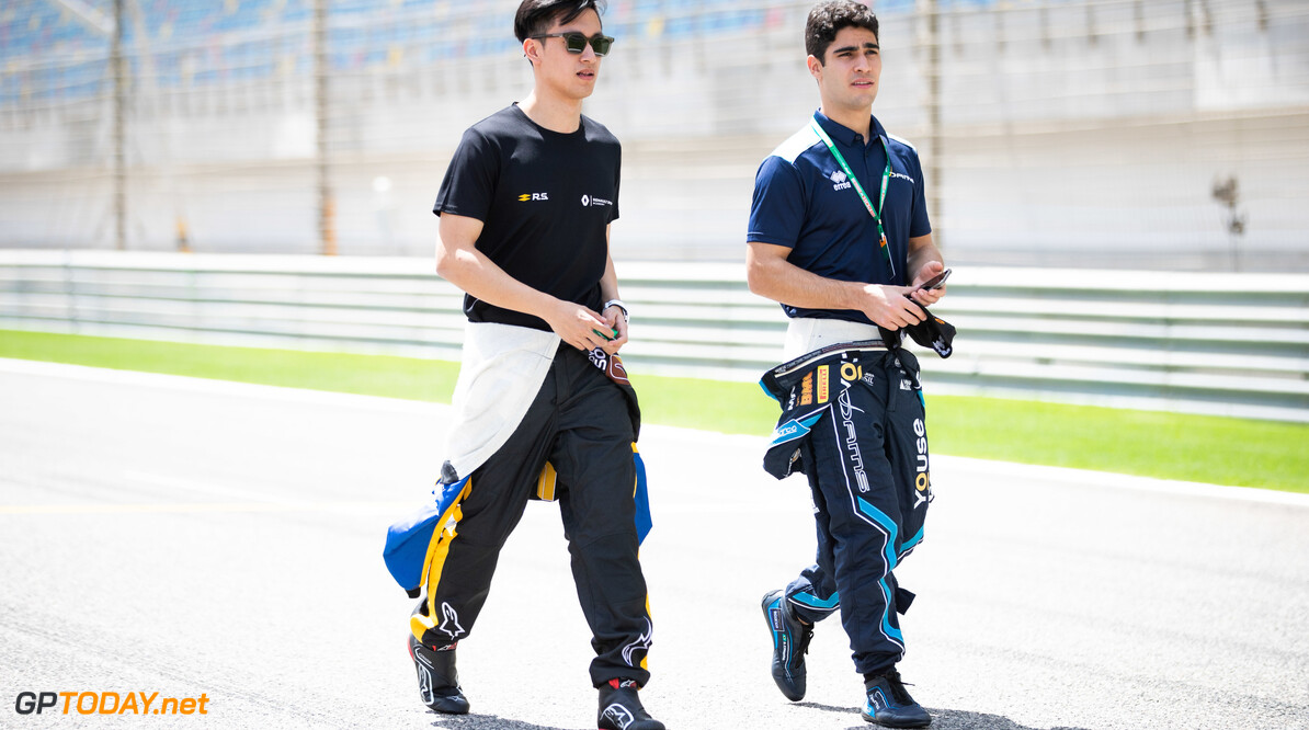 2019 Bahrain BAHRAIN INTERNATIONAL CIRCUIT, BAHRAIN - MARCH 28: Guanyu Zhou (CHN, UNI VIRTUOSI) and Sergio Sette Camara (BRA, DAMS) during the Bahrain at Bahrain International Circuit on March 28, 2019 in Bahrain International Circuit, Bahrain. (Photo by Joe Portlock) 2019 Bahrain Joe Portlock  Bahrain  Portrait Preview