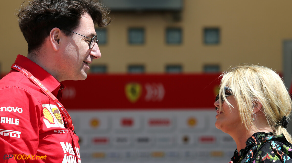 Mattia Binotto (ITA) Ferrari Team Principal and Corinna Schumacher (GER) 29.03.2019. Formula 1 World Championship, Rd 2, Bahrain Grand Prix, Sakhir, Bahrain, Practice Day - www.xpbimages.com, EMail: requests@xpbimages.com - copy of publication required for printed pictures. Every used picture is fee-liable. (C) Copyright: Charniaux / XPB Images Motor Racing - Formula One World Championship - Bahrain Grand Prix - Practice Day - Sakhir, Bahrain     Formel1 Formel F1 Formula 1 Formula1 GP Grand Prix one Bahrain International Circuit BIC Manama Bahrain Sakhir Friday March Portrait 29 03 3 2019