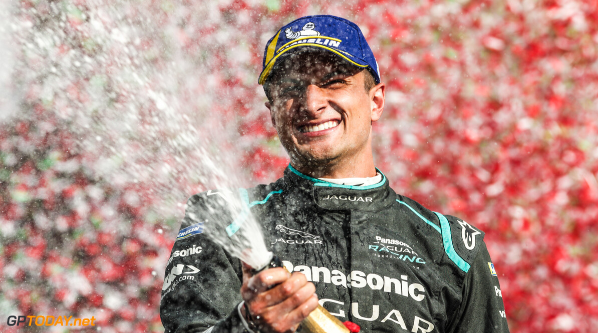 2019 Rome E-prix Mitch Evans (NZL), Panasonic Jaguar Racing, 1st position, celebrates his maiden victory on the podium  2019 Rome E-prix Alastair Staley  Italy  portrait champagne spray confetti electric FE open wheel