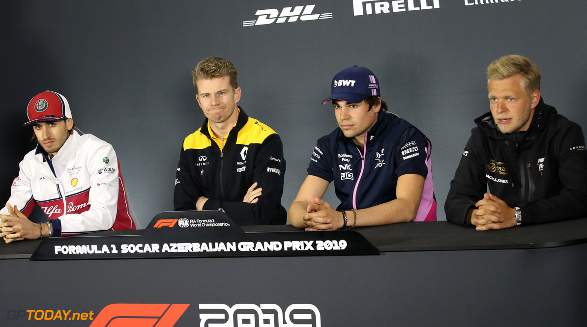 Formula One World Championship Antonio Giovinazzi (ITA), Alfa Romeo Racing, Nico Hulkenberg (GER), Renault Sport F1 Team, Lance Stroll (CDN), Racing Point and Kevin Magnussen (DEN), Haas F1 Team  25.04.2019. Formula 1 World Championship, Rd 4, Azerbaijan Grand Prix, Baku Street Circuit, Azerbaijan, Preparation Day. - www.xpbimages.com, EMail: requests@xpbimages.com - copy of publication required for printed pictures. Every used picture is fee-liable. (C) Copyright: Charniaux / XPB Images Motor Racing - Formula One World Championship - Azerbaijan Grand Prix - Preparation Day - Baku, Azerbaijan XPB Images Baku Azerbaijan  Formel1 Formel F1 Formula 1 Formula1 GP Grand Prix one Thursday Portrait Circuit Baku Azerbaijan April 25 04 4 2019