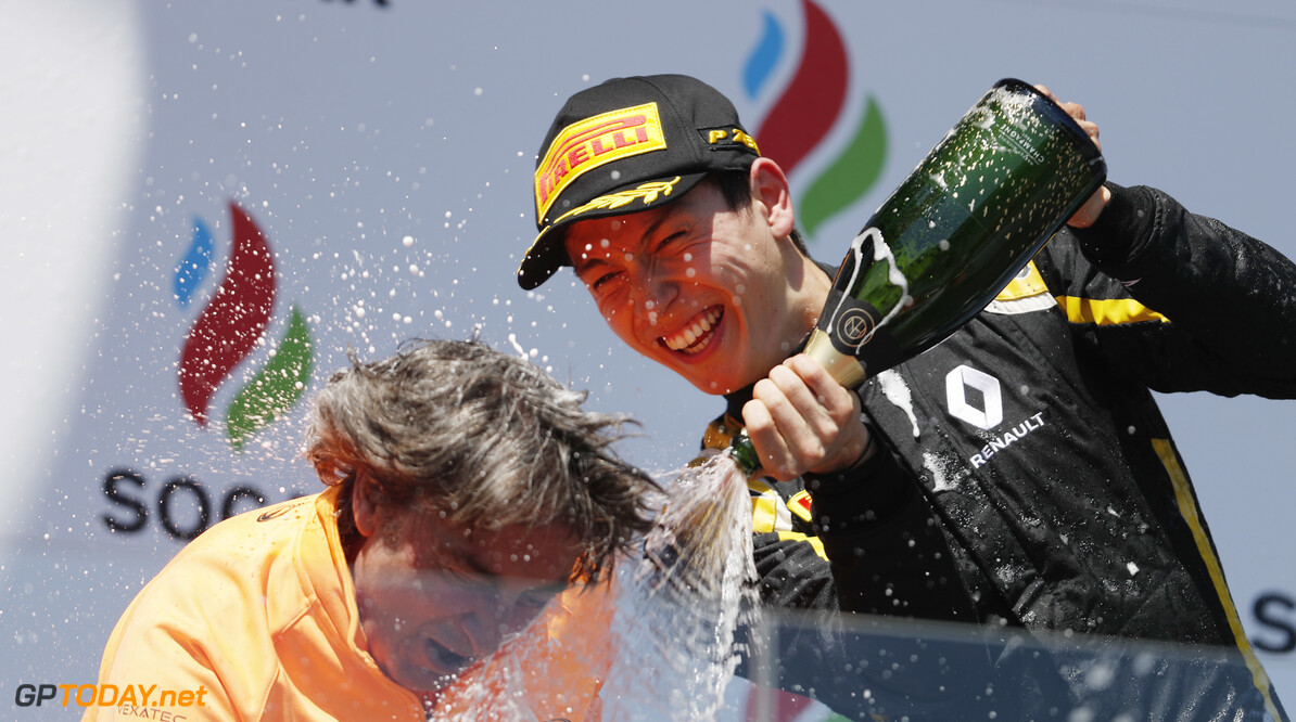 2019 Baku BAKU CITY CIRCUIT, AZERBAIJAN - APRIL 27: Jack Aitken (GBR, CAMPOS RACING) sprays the champagne on the podium during the Baku at Baku City Circuit on April 27, 2019 in Baku City Circuit, Azerbaijan. (Photo by Zak Mauger / LAT Images / FIA F2 Championship) 2019 Baku Zak Mauger  Azerbaijan  portrait F2 ts-live Formula 2