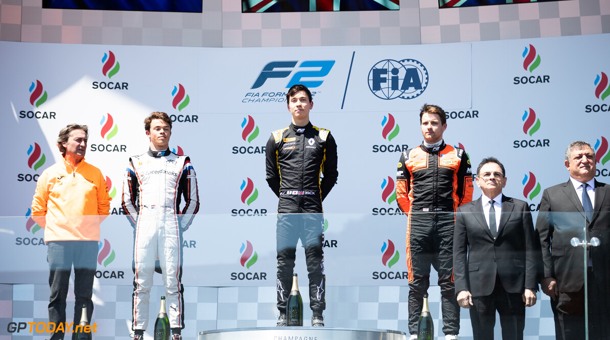 2019 Baku BAKU CITY CIRCUIT, AZERBAIJAN - APRIL 27: Jack Aitken (GBR, CAMPOS RACING) Nyck De Vries (NLD, ART GRAND PRIX) and Jordan King (GBR, MP MOTORSPORT) during the Baku at Baku City Circuit on April 27, 2019 in Baku City Circuit, Azerbaijan. (Photo by Joe Portlock / LAT Images / FIA F2 Championship) 2019 Baku Joe Portlock  Azerbaijan  Race Race 1 F2 Formula 2