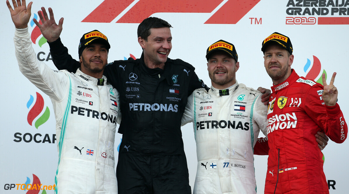 Formula One World Championship 1st place for Valtteri Bottas (FIN) Mercedes AMG F1 W10, 2nd Lewis Hamilton (GBR) Mercedes AMG F1 W10 and 3rd Sebastian Vettel (GER) Ferrari SF90. 28.04.2019. Formula 1 World Championship, Rd 4, Azerbaijan Grand Prix, Baku Street Circuit, Azerbaijan, Race Day. - www.xpbimages.com, EMail: requests@xpbimages.com - copy of publication required for printed pictures. Every used picture is fee-liable. (C) Copyright: Batchelor / XPB Images Motor Racing - Formula One World Championship - Azerbaijan Grand Prix - Race Day - Baku, Azerbaijan XPB Images Baku Azerbaijan  Formel1 Formel F1 Formula 1 Formula1 GP Grand Prix one Circuit Baku Azerbaijan Sunday April 28 04 4 2019 Podium Portrait
