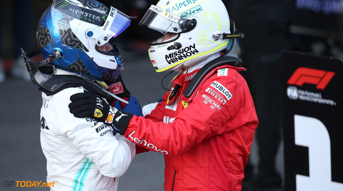 Formula One World Championship 1st place Valtteri Bottas (FIN) Mercedes AMG F1 and 3rd place Sebastian Vettel (GER) Ferrari SF90. 28.04.2019. Formula 1 World Championship, Rd 4, Azerbaijan Grand Prix, Baku Street Circuit, Azerbaijan, Race Day. - www.xpbimages.com, EMail: requests@xpbimages.com - copy of publication required for printed pictures. Every used picture is fee-liable. (C) Copyright: Batchelor / XPB Images Motor Racing - Formula One World Championship - Azerbaijan Grand Prix - Race Day - Baku, Azerbaijan XPB Images Baku Azerbaijan  Formel1 Formel F1 Formula 1 Formula1 GP Grand Prix one Circuit Baku Azerbaijan Sunday April 28 04 4 2019 Podium Portrait
