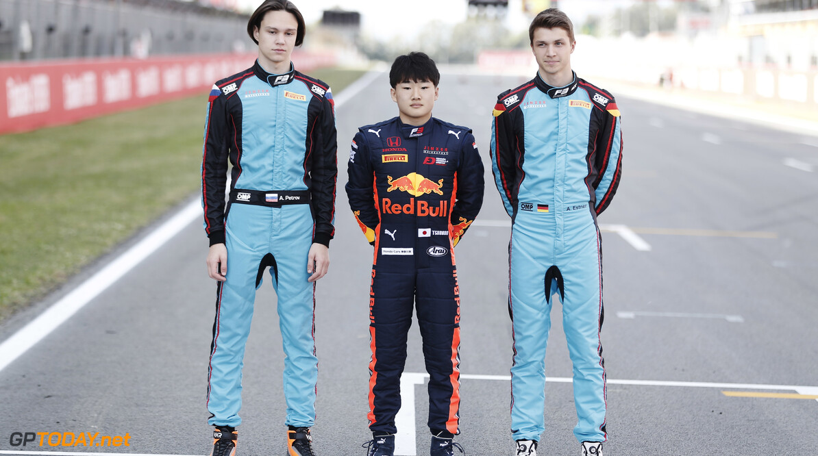2019 Barcelona CIRCUIT DE BARCELONA-CATALUNYA, SPAIN - MAY 09: Artem Petrov (RUS, Jenzer Motorsport) Yuki Tsunoda (JPN, Jenzer Motorsport) and Andreas Estner (DEU, Jenzer Motorsport) during the Barcelona at Circuit de Barcelona-Catalunya on May 09, 2019 in Circuit de Barcelona-Catalunya, Spain. (Photo by Joe Portlock / LAT Images / FIA F3 Championship) 2019 Barcelona Joe Portlock  Spain  Portrait F3 Formula 3 FIA F3