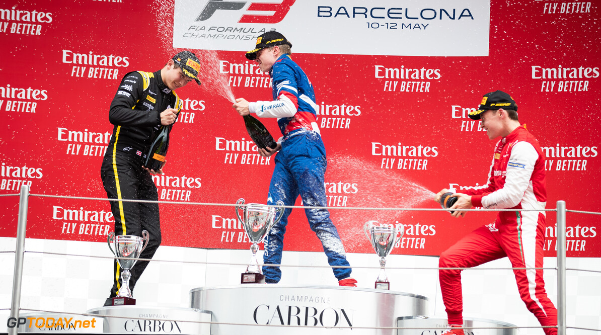 2019 Barcelona CIRCUIT DE BARCELONA-CATALUNYA, SPAIN - MAY 11: Robert Shwartzman (RUS, PREMA Racing) Christian Lundgaard (DNK, ART Grand Prix) and Marcus Armstrong (NZL, PREMA Racing) during the Barcelona at Circuit de Barcelona-Catalunya on May 11, 2019 in Circuit de Barcelona-Catalunya, Spain. (Photo by Joe Portlock / LAT Images / FIA F3 Championship) 2019 Barcelona Joe Portlock  Spain  Action Race 1 F3 Formula 3 FIA F3